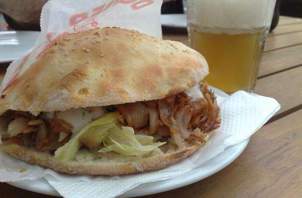 Doner kebab in naan bread